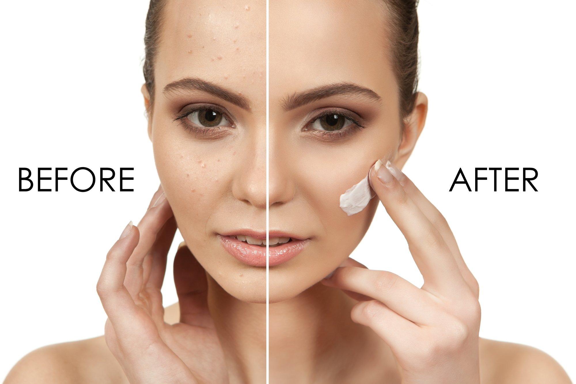 The beautiful girl with a make-up in Spa salon after cosmetic procedures holding a tool for makeup