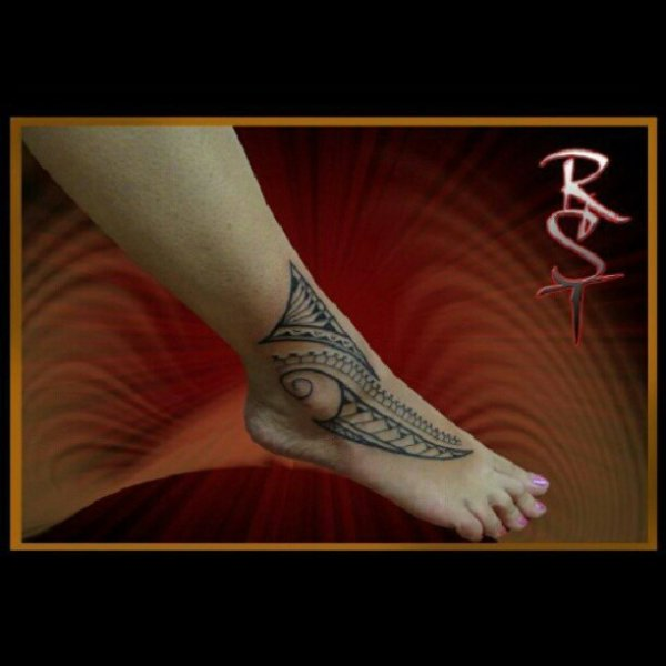 Polynesian Foot Tattoo
