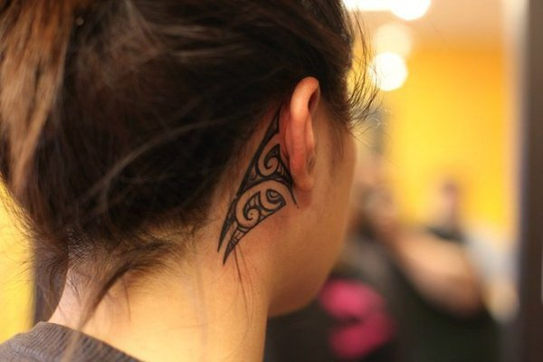 Polynesian Tattoo Behind the Ear